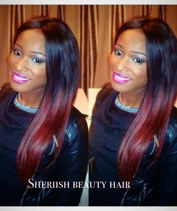 tissage malaisien lisse ombre hair rouge